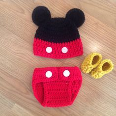 Mickey Mouse hat diaper cover and slippers by MimisClosetBoutique