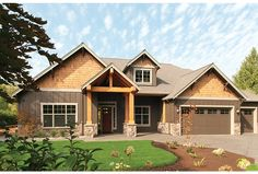 Drama, drama, drama! This gorgeous one-story Craftsman home (plan HWEPL67349 from eplans.com) features a truly special great room and open kitchen. Click through to see interior photos!