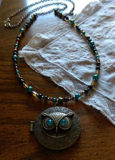 Hoot Hoot- Owl Half Beaded Half Chain Locket/ Owl Locket/Locket/Pendant Necklace/Long Necklace/Beaded necklace with pendant/handmade by LouisianaBayouBeads on Etsy
