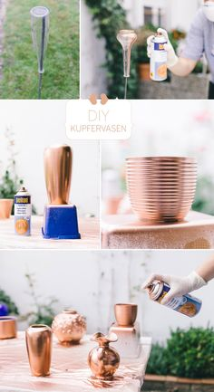 Table Decoration Wedding – DIY Copper Vases by Forget Me Not Photography – Vase Diy Decoration Evenementielle, Ideias Diy, Diy Home Crafts, Bottle Crafts, Diy Art, Diy Room Decor, Home Decor, Vases, Diy Wedding