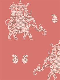 Caravan Coral Elephant Peel and Stick Wallpaper Coral Wallpaper, Coral Color, Peel And Stick Wallpaper, Caravan, Elephant, Interior Design, Pattern, Dream Houses, Prints