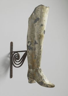 """Early Full Bodied Bootmaker's Trade Sign (Sold) Painted and Weathered Zinc  On Original Hand Wrought Iron Bracket  Scottish, c.1800  29.00"""" ..."""