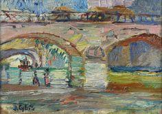Jan Cybis   <i>MOST NA SEKWANIE, 1947</i>   olej, płótno   33 x 46 cm