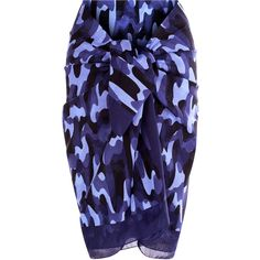 La Perla Beyond the Beach Printed Cotton Sarong (850 BRL) ❤ liked on Polyvore featuring swimwear, cover-ups, dark blue, cotton swimwear, sarong cover ups, beach wear, camo swim wear and camo swimwear