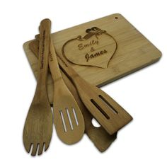 HOT DEAL Wedding Gift Monogrammed Wood Cutting Board with 4pc Personalized Bamboo Kitchen Spoons, Quotes, Sayings Unique Engraved Gift on Etsy, $24.99