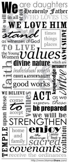 young women in excellence ideas | Young Women Theme Subway Art Style by Marti Watson