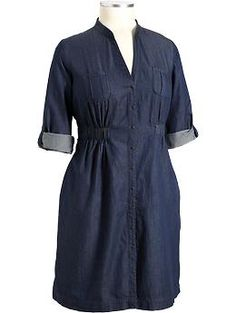 Truly my fav type of dress...i always feel uber cute and fly in shirt dresses! chambray dress - plus size