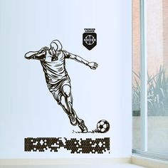 Wall Decal Football ball Player Kicking Soccer Sport goalkeeper league M1712. Thank you for visiting our store!!! Please read the whole description about this item and feel free to contact us with any questions! Vinyl wall decals are one of the latest trends in home decor. Vinyl wall decals give the look of a hand-painted quote, saying or image without the cost, time, and permanent paint on your wall. They are easy to apply and can be easily removed without damaging your walls. Vinyl wall...