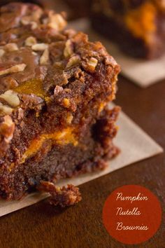 Pumpkin Nutella Brownies - use any brownie recipe or this one http://www.food.com/recipe/nutella-brownies-507272 - absolutely delicious, very moist