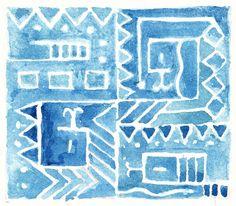 Snake Tiles Sketch by Penina, via Flickr. Exploring the snake theme in indigo, as a repeatable tile.