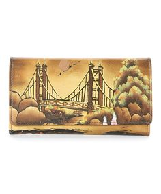 This Biacci Yellow & Brown Hand-Painted Leather Wallet by Biacci is perfect! #zulilyfinds