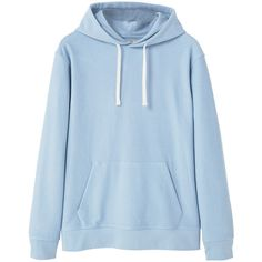 Hoodie Cotton Sweatshirt ($25) ❤ liked on Polyvore featuring tops, hoodies, sweatshirts, cotton hoodies, cotton sweatshirts, blue hooded sweatshirt, long sleeve tops and blue sweatshirt