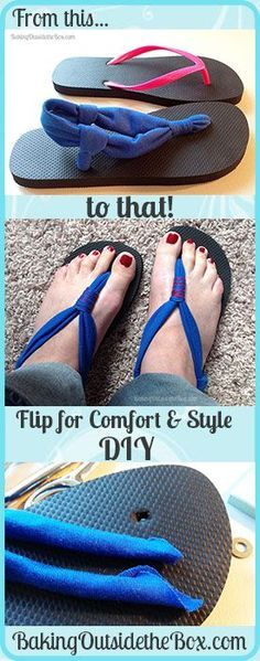 Baking Outside the Box | Sandal DIY, from .99 cent flip flops all the way to style and comfort.