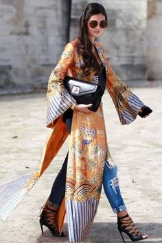 Most Popular Kimono Outfit Trends Ideas 201810 Street Style Fashion Week, Looks Street Style, Looks Style, Look Fashion, My Style, Paris Fashion, Hippie Fashion, Fashion Details, Tokyo Street Style