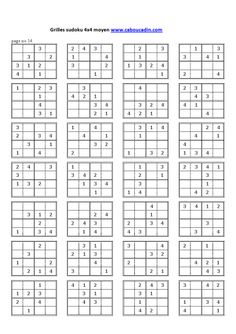grilles sudoku 4x4 niveau moyen 2 sudoku pinterest grille sudoku sudoku et 4x4. Black Bedroom Furniture Sets. Home Design Ideas