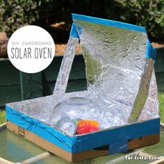 DIY Solar Oven from a repurposed cardboard box. This is a great experiment for kids to learn about solar energy and sustainability.