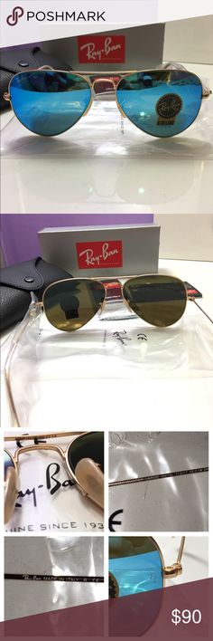 Ray-Ban 3025 112/17 Aviator Blue/Gold 58mm Ray-Ban 3025 112/17 Aviator Blue/Gold  Gender: Unisex  Model: RB112/17  Color Reference: Blue Lens  Shape: Aviator  Frame Size: Eye size - 58mm  Frame Color: Gold Matte  Brand New RayBan Comes in Original Ray-Ban Carrying Case with Outer Paper Box, Cleaning Cloth, and Ray-Ban Booklets  NO TRADES!!🚫🚫🚫 Ray-Ban Accessories Glasses