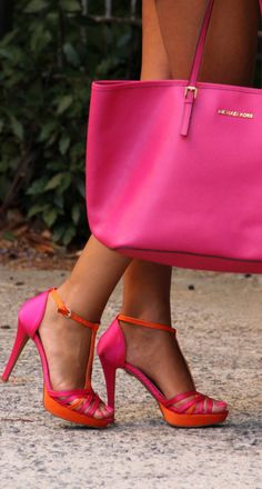 #check out those cute shoes and the lace ....,        LOOK WHAT I FOUND!!!!!  Here is another view of the infamous pink bag from Michael Kors.  This is view #2..... just wait....