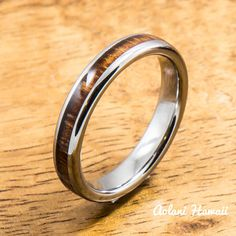 Tungsten Ring with Koa Wood Inlay 4mm widthBarrel by AolaniHawaii