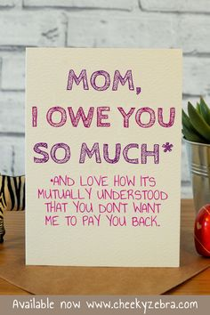 Funny mother's day cards, hilarious mothers day cards, etsy, handmade, card for Birthday Quotes Funny For Her, Funny Mom Birthday Cards, Birthday Presents For Dad, Mum Birthday Gift, Humor Birthday, Husband Birthday, Birthday Nails, Birthday Crafts, Happy Birthday