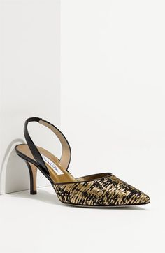 Oscar de la Renta Metallic Fabric Slingback available at #Nordstrom