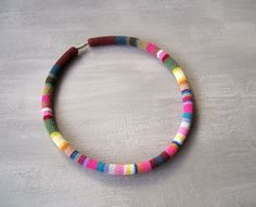 Crochet Tube Colorful Necklace  Confetti Choker by vanessahandmade
