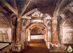 Via Latina Catacombs   The exquisite decoration can be seen in this building shows that customers were part of the economic elite of the time. Alternate Christian and pagan motifs but all studies report a high level in artistic representation.