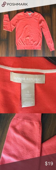 Banana Republic sweater Banana Republic orange/coral sweater. Minimal signs of wear as shown on pictures. US size S. Banana Republic Sweaters Crew & Scoop Necks