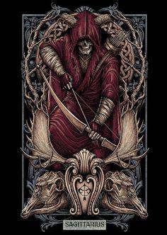 Sagitario Art And Illustration, Illustrations, Dark Fantasy Art, La Danse Macabre, Satanic Art, Dark Artwork, Psy Art, Arte Obscura, Skull Wallpaper