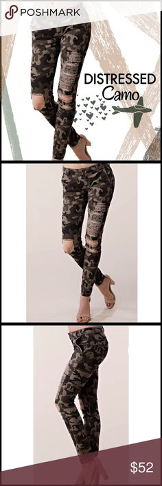 Distressed Camo Skinnies Distressed Camo Skinnies; good quality medium to heavyweight material; zip up closure; back pocket flap; Boutique Pants