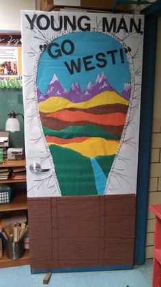 "This door was a great addition to our history unit on ""Westward Expansion 1800-1861."" It correlates directly to Virginia SOL USI8. The view relates to us what someone traveling inside of a covered wagon on the Oregon Trail might have seen. The view also helps to review some geographic regions (another USI SOL!)"