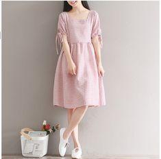 Vintage Small Fresh Plaid Short Sleeve Mori Girl Dress Elegant Preppy Style