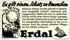 Original-Werbung/ Anzeige 1939 - ERDAL SCHUHPFLEGE / MOTIV FROSCH UND DRACHE - ca. 60 x 35 mm