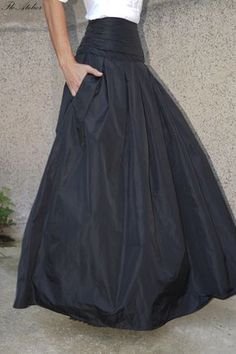Lovely Black Long Maxi Skirt/ High or Low Waist Skirt /Long Waistband Skirt/F1190 by FloAtelier on Etsy https://www.etsy.com/uk/listing/246746249/lovely-black-long-maxi-skirt-high-or-low