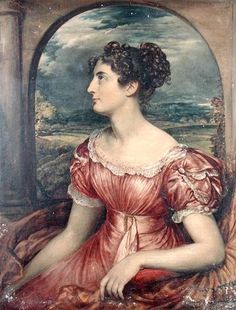 By John Linnell, 1826. I looked at the picture and guessed late 1820s before I found the year. Waist is lowering, sleeves are getting big, details on the dress are more complicated, but still sporting the Regency hairstyle.