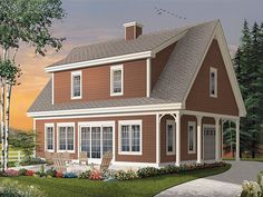 This charming carriage house plan is sure to catch your eye with its relaxed country style and practical floor plan.