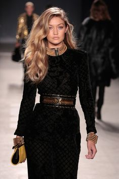 Model Gigi Hadid walks the runway at the BALMAIN X H&M Collection Launch at 23 Wall Street on October 20, 2015 in New York City.