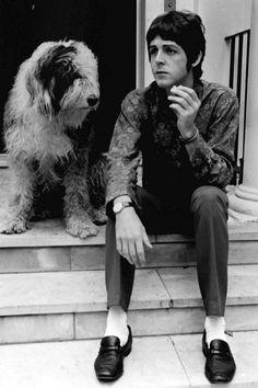 Paul McCartney and Martha (Old English Sheepdog).