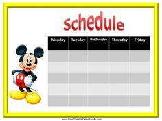 Mickey Mouse free weekly calendar printable