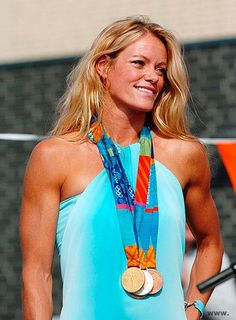 Dutch swimmer, Inge de Bruijn ~ Gold Medals at 2000 Sydney (50 Freestyle, 100 Freestyle & 100 Butterfly) and 2004 Athens (50 Freestyle) Olympics