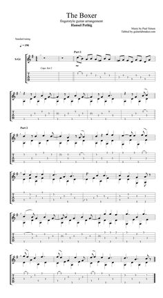 Paul Simon - The Boxer fingerstyle guitar TAB - acoustic fingerstyle guitar cover by Hansel Pethig - Guitar Pro TAB - PDF - guitar sheet music Guitar Tabs Acoustic, Guitar Tabs And Chords, Guitar Tabs Songs, Music Theory Guitar, Acoustic Guitar Lessons, Guitar Solo, Music Guitar, Classical Guitar Sheet Music, Jazz