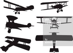 Royalty-free Vector Art: Biplane Silhouettes