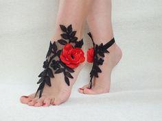 Barefoot Sandals black lace red rose beach shoes, sandals, wedding bridal, bellydance, wedding shoes, summer wear,