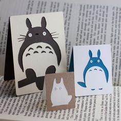 SET OF 3 Layered Magnetic Totoro Bookmarks by BottlejackStudios, $10.00