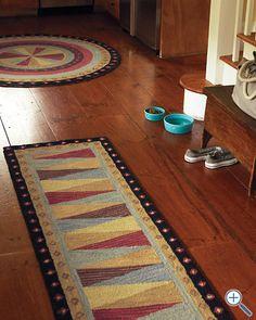 Pinwheel Hooked Wool Rug