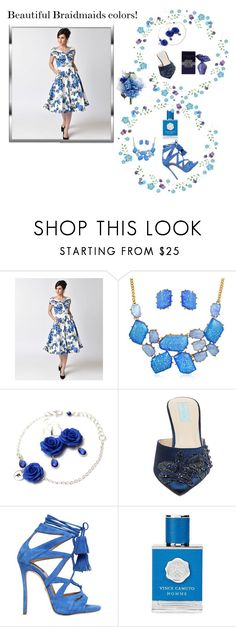 """""""Blue 2018"""" by nashalymoe ❤ liked on Polyvore featuring Bling Jewelry, Betsey Johnson, Dsquared2, Vince Camuto and Max Azria"""