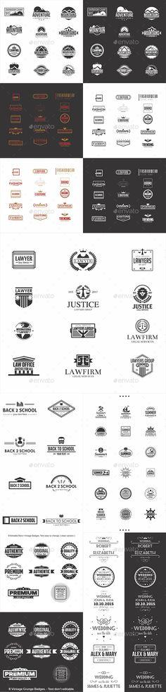 79 Badges and Logos Bundle - Templates Vector EPS, AI Illustrator