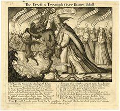 """""""El Triunfo del Diablo sobre el Ídolo de Roma"""". Por Francis Barlow, 1680. http://iglesiadesatan.com/"""