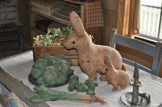 cloth rabbits and veggies