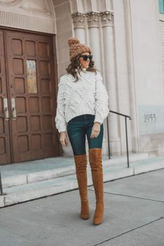 Boots + pom beanie best otk boots tan otk boots that stay up winter outfit Turtleneck Outfit Winter, Knit Sweater Outfit, Beanie Outfit, Winter Sweater Outfits, Cute Outfits With Jeans, Outfits With Hats, Tan Boots Outfit, Colorado Fashion, Nordstrom